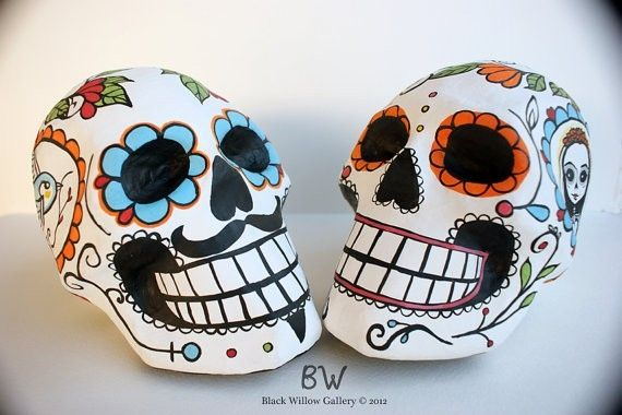 Hand Crafted Wedding Decoration Day Of The Dead Skull Custom Bride