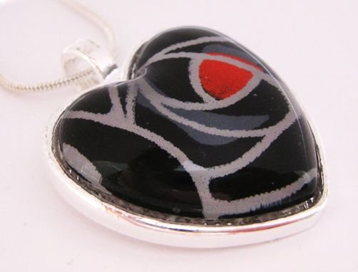 Custom Made Glass Heart Pendant With Black Rose Design