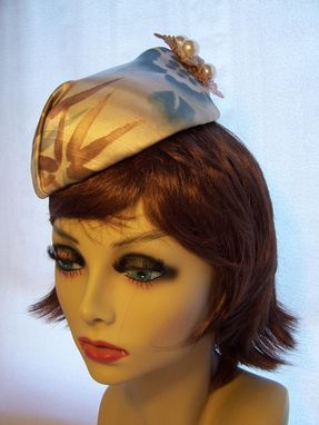 Custom Made Buckram Draped Pillbox / Fascinator In Brown And Blue