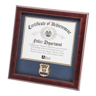Custom Made Police Department Medallion Certificate Frame