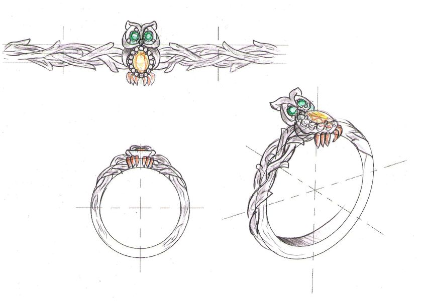 A vibrant design sketch for an owl engagement ring with yellow sapphire, emerald, and diamonds.