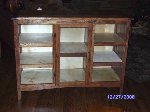 Custom Made Wormy Chestnut Floor Model Cabinet