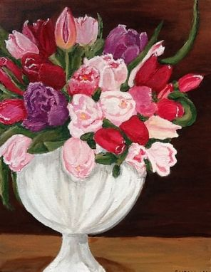 Custom Made Vase Of Tulips Original Oil Painting