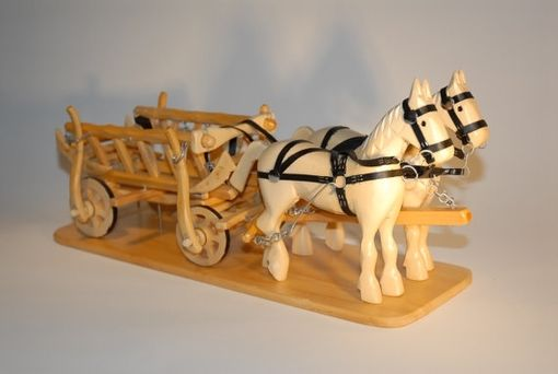 Custom Made Wood Horses And Carriage Home Decor Handcrafted, Handpainted Home Decor