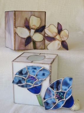 Custom Made Stained Glass Tissue Box Holder With Matching Nightlight