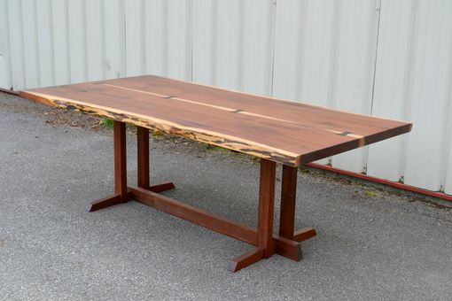 Custom Made Seven Foot Live Edge Walnut Dining Table With Nakashima Style Base