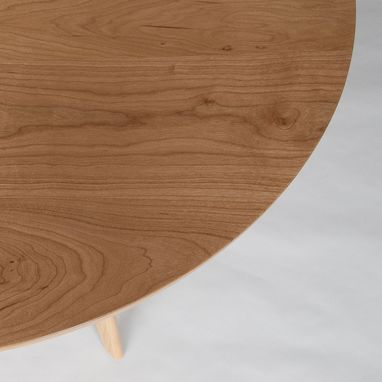 Custom Made Mid Century Modern Round Dining Table, Bistro Table, Cafe Table, Solid Cherry Wood