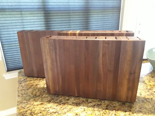 Custom Made Solid Walnut Vertical Knife Block