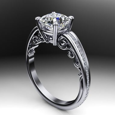 Custom Made Scroll Design Diamond Solitaire Engagement Ring