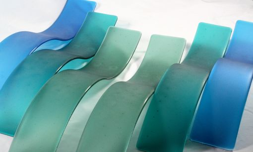 Custom Made Fused Glass Wall Art/ Wave Sculpture- Sea Glass (Set Of 6)
