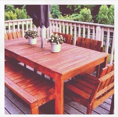 Custom Made Outdoor Dinning Table And Benches