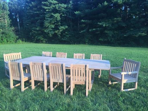 Custom Made Oak Outdoor Slat Table With 8 Standard Chairs And 2 Captains Chairs
