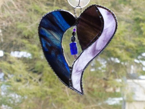 Custom Made Blue And Purple Stained Glass Heart With Beads And Crystals
