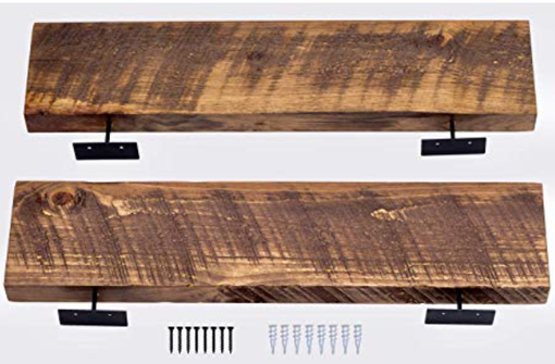 "Custom Made Floating Shelves Rustic Wood Wall Shelf | Set Of 2 (Walnut, 24"" X 5.5"")"