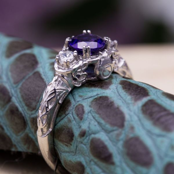 Designed For A Woman Who Loves Music And Anime This Bold Amethyst Engagement Ring Features An Alto Clef The Form Of Totoro In Side Profile