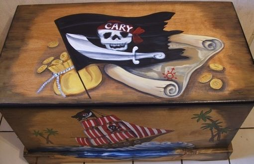 Hand Crafted Wooden Pirate Toy Box By Original Paintings