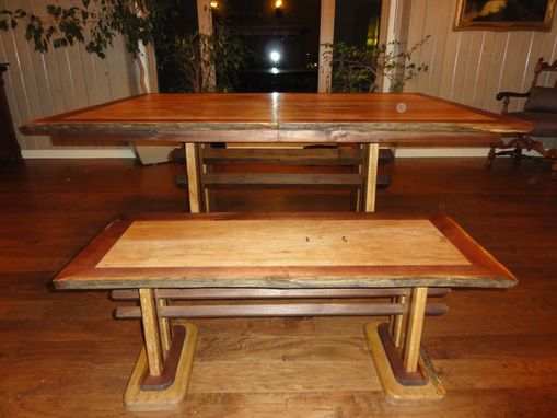 Custom Made Reclaimed Lumber Dining Table W/ Matching Bench