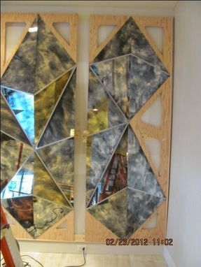 Custom Made Commercial Abstract Mirror Glass Pyramid Wall Art