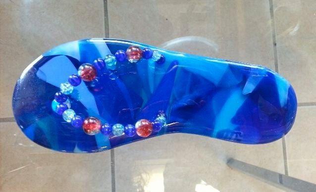 0af1199a3169 Custom Fused Glass Flip-Flop Suncatcher by Rjk Studio