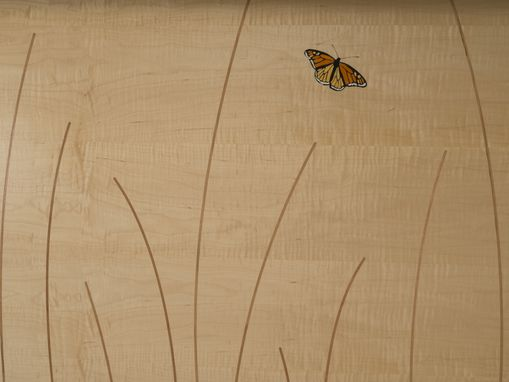 Custom Made King Headboard, Queen, Cherry, Curly Maple, Butterfly Inlay,