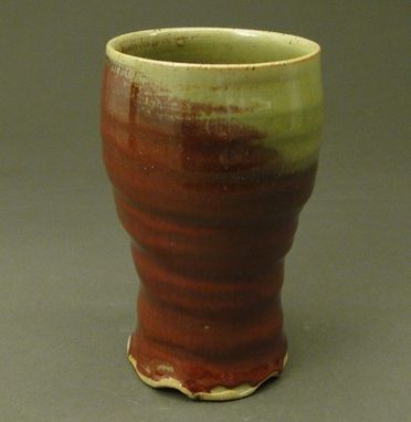 Custom Made Stoneware Pottery Tall Cup, Copper Red Glaze, (Sku 47)