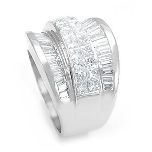 Custom Made Baguette And Princess Cut Diamond Ring In 14k White Gold, Ladies Ring