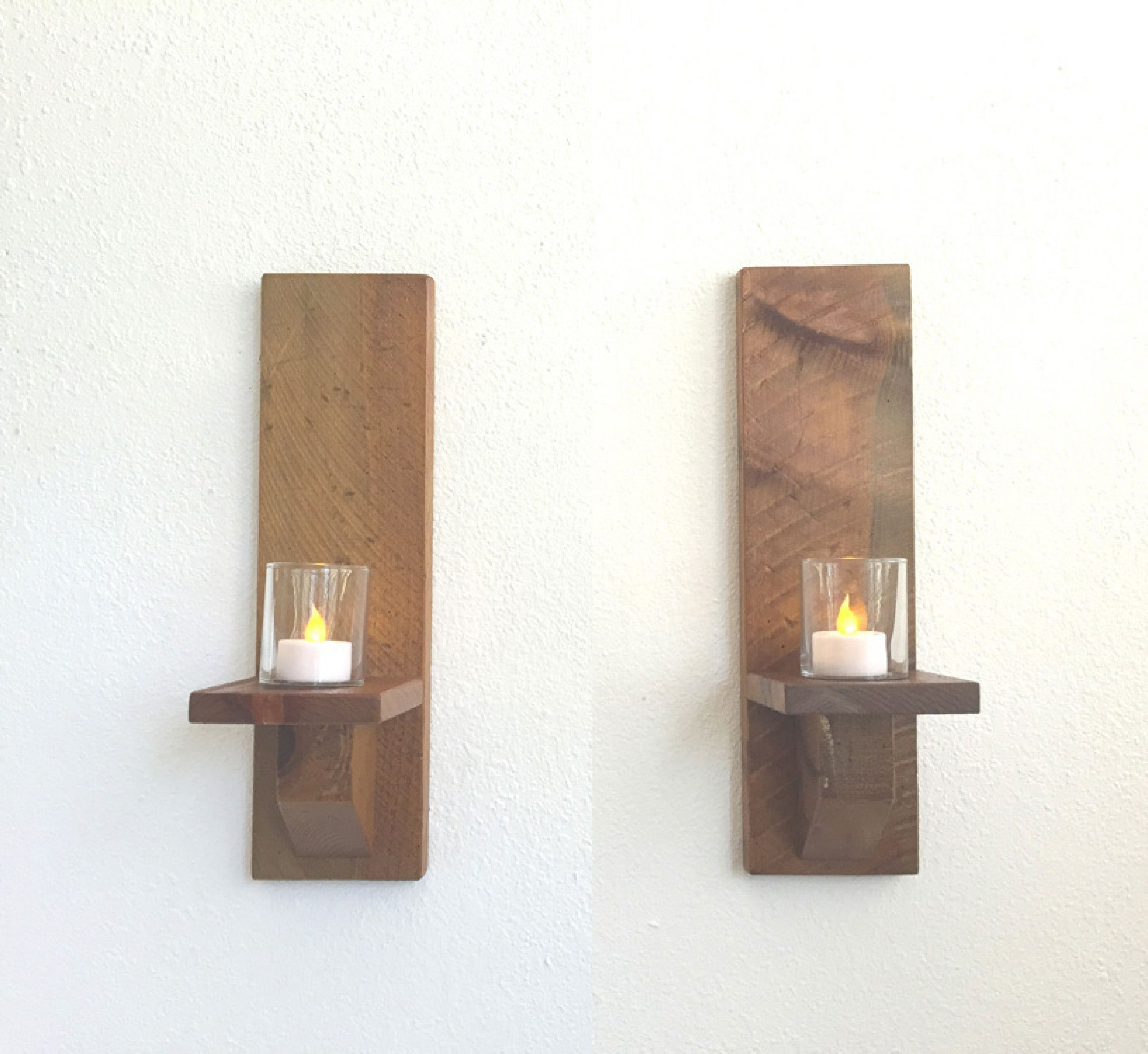 Buy a Hand Made Rustic Wood Wall Sconces, Candle Sconces, Wall Candle  Holders (Set Of 2) Dark Stain, made to order from Adlite Creations    CustomMade.com
