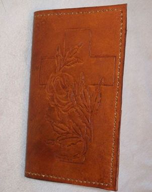 Custom Made Custom Leather Day Planner With Cross And Flower Design In Canyon Tan