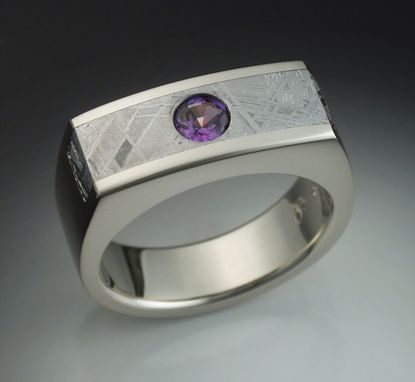 Custom Made Mans Ring With Alexandrite And Meteorite