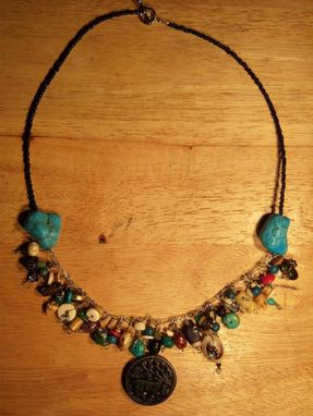 Custom Made Beautiful Turquoise And Silver Beaded Fringe Necklace