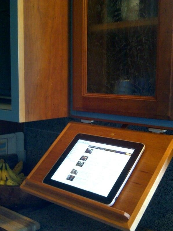 Custom Made Under Cabinet Pull-Down Tablet Computer Kitchen Shelf ...