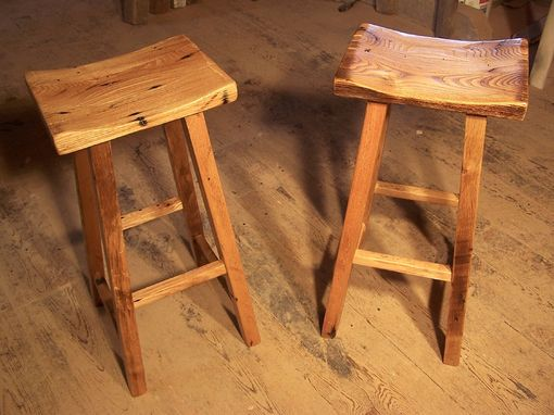 Custom Made Reclaimed Wood Saddle Stools