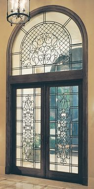 Custom Made Leaded Beveled Glass Door, And Transom Protected By Hurricane Resistant Glass