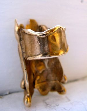 Custom Made Gold Bronze Large Drip Cocktail Ring