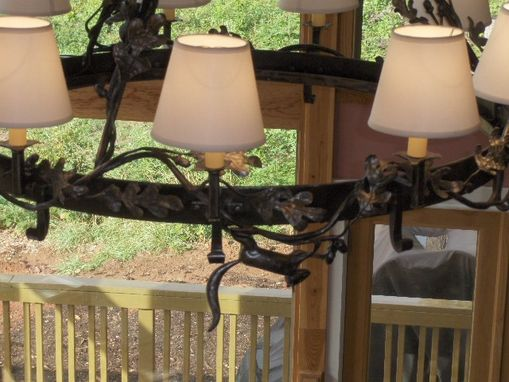 Custom Made Oak Leaves And Squirrel Chandelier