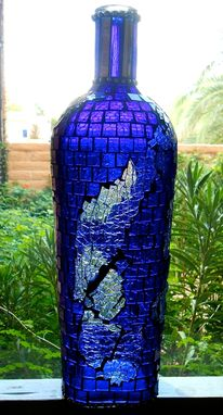Custom Made Handcrafted Glass Mosaic Design Bottle Sculpture With Cobalt Blue And Tempered Glass