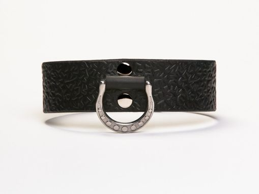 Custom Made Leather Bondage Collar - Black Latigo - Embossed With Thorns - Stainless Steel Lead Ring