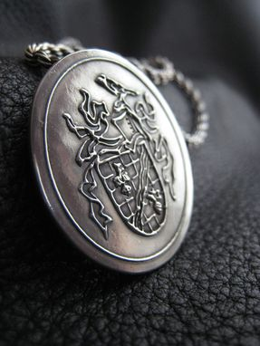 Custom Made Custom Family Crest Coat Of Arms Custom Logo Silver Medallion Pendant In Sterling Silver