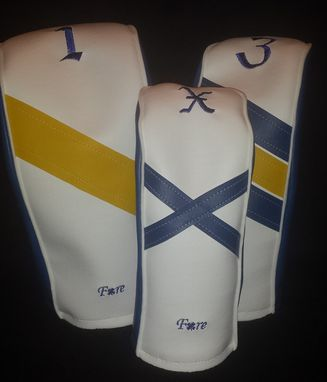 Custom Made Royal Blue, White And Yellow Custom Fore Leaf Golf Head Covers, Driver, Fairway, Hybrid