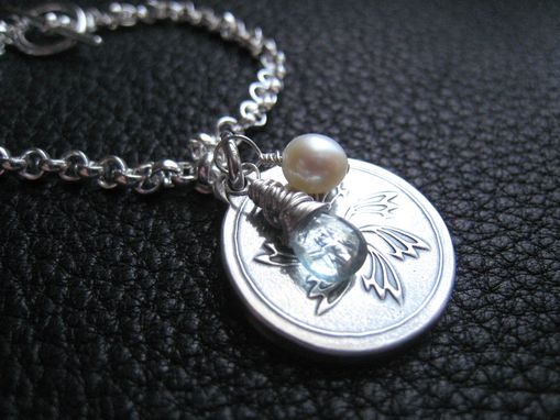 Custom Made Custom Sterling Silver Charm Bracelet With Aquamarine And Pearl