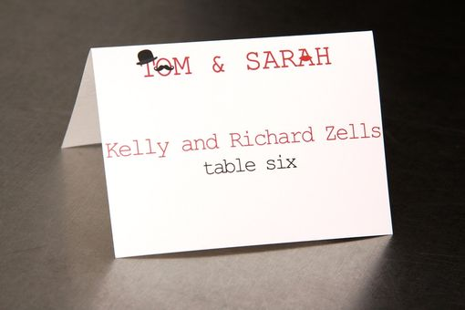 Custom Made Wedding Place Cards - Mustache Top Hat And Lips - Escort Cards Favor Tags Custom Designed