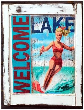 Custom Made Vintage Wood Sign, Welcome To The Lake,Retro, Vintage Look, Weathered Wood, Water Skier