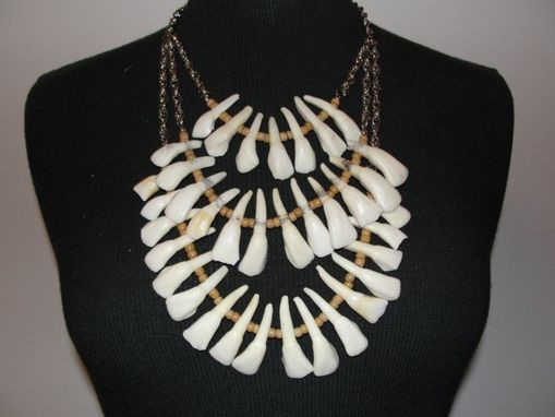 Custom Made Santeria Necklace Of Buffalo Teeth, Wood, And Silvertone Chain Reduced