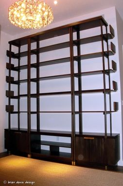 Custom Made Mahogany Brass Tinted Lacquer Shelving Cabinetry Casework