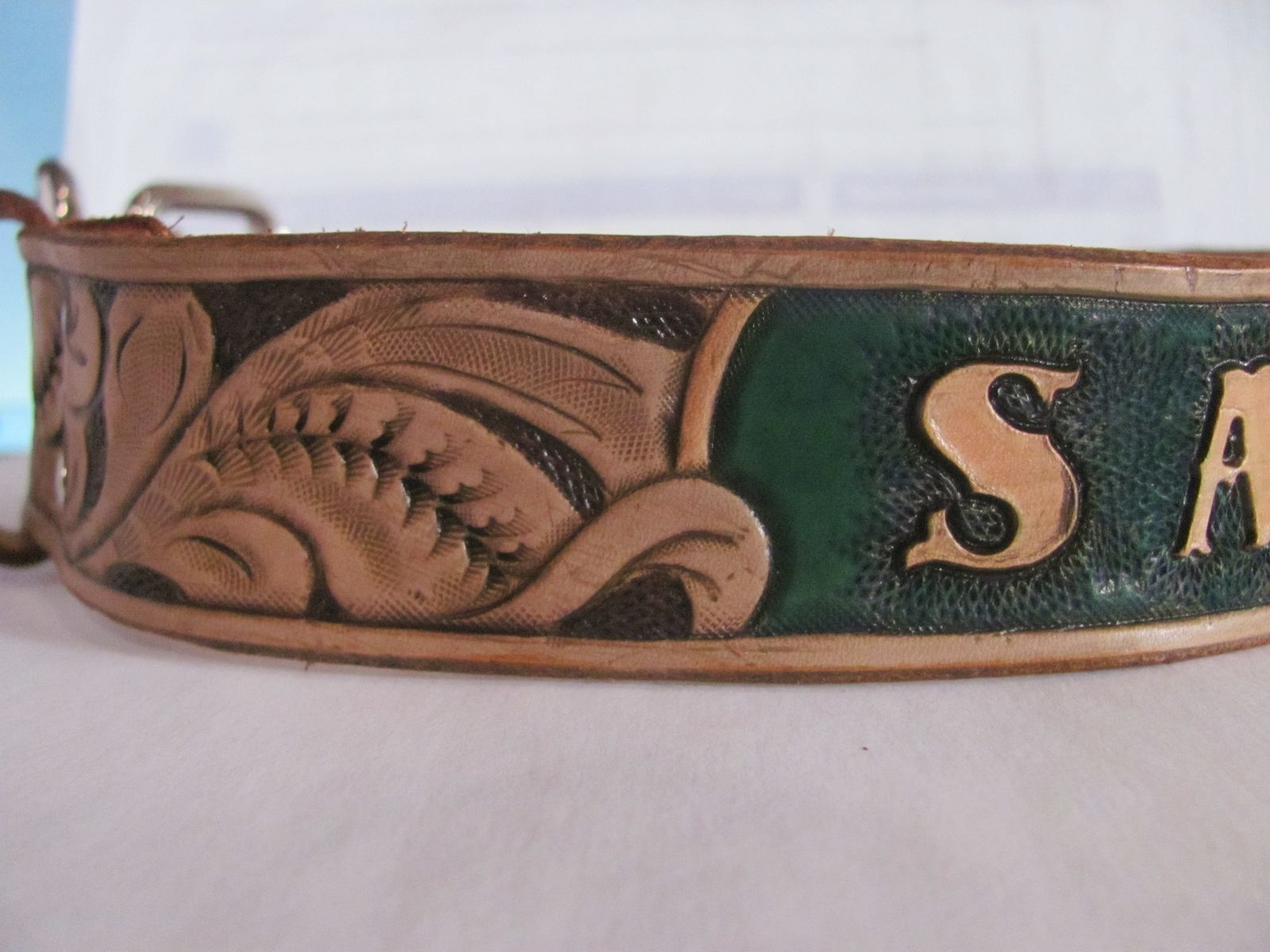 Handmade Hand Carved Dog Collar Personalized By Reigle