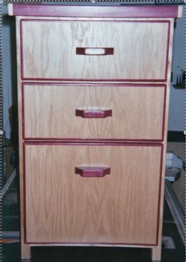 Custom Made Oak With Purpleheart Inlay 3-Drawer Filing Cabinet