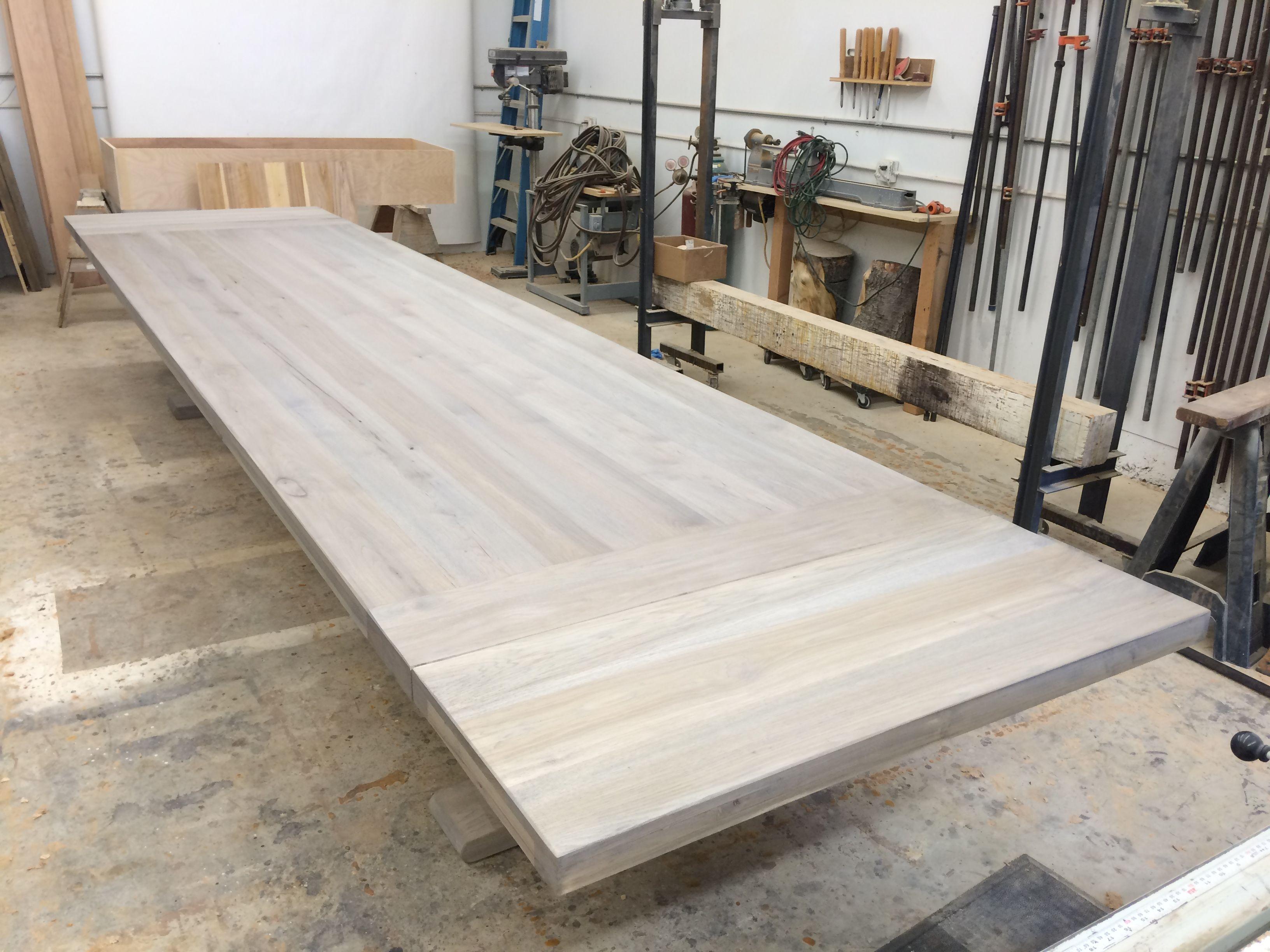 Custom Dining Table 14 Ft Trestle In Pecan Hardwood