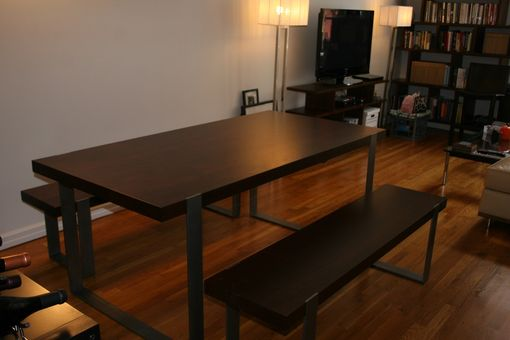 Custom Made Walnut And Steel Dining Table And Benches