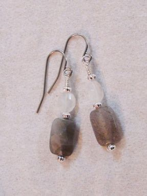 Custom Made Labradorite And Rainbow Moonstone Earrings In Silver