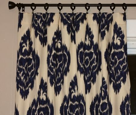 "Custom Made Custom Designer Draperies: Bella Ikat Medallion Indigo Blue 90""L X 50""W Like Lacefield Spicer"